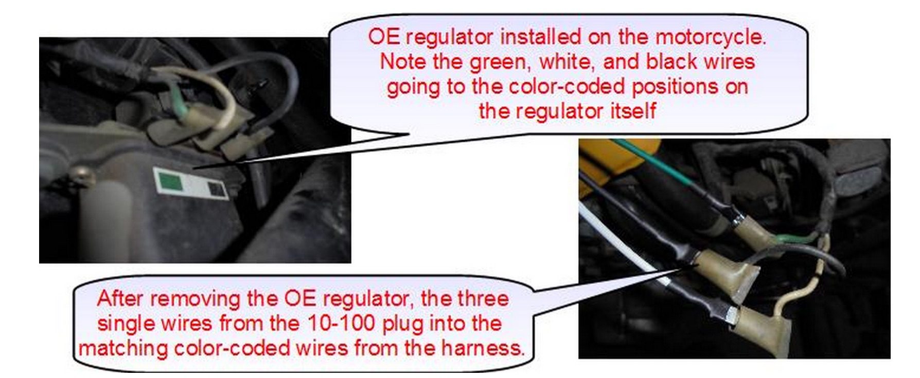 Wiring Harness Connect Colors Aftermarket Honda Regulator Rectifier Oem Style Replacement Part Connecting The Disconnect 6 Position 5 Wire Connector From Oe Plug Identical On 10 100 In Its Place