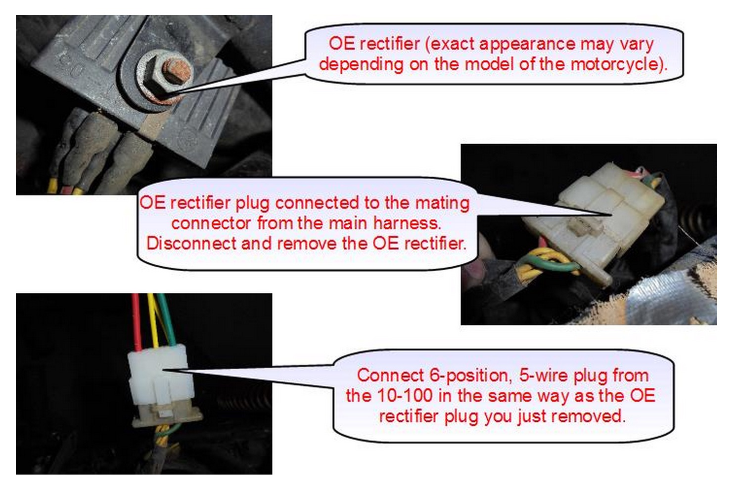 Connecting the rectifier - Disconnect the 6-position, 5 wire connector from  the OE rectifier & plug the identical connector on the 10-100 in its place.